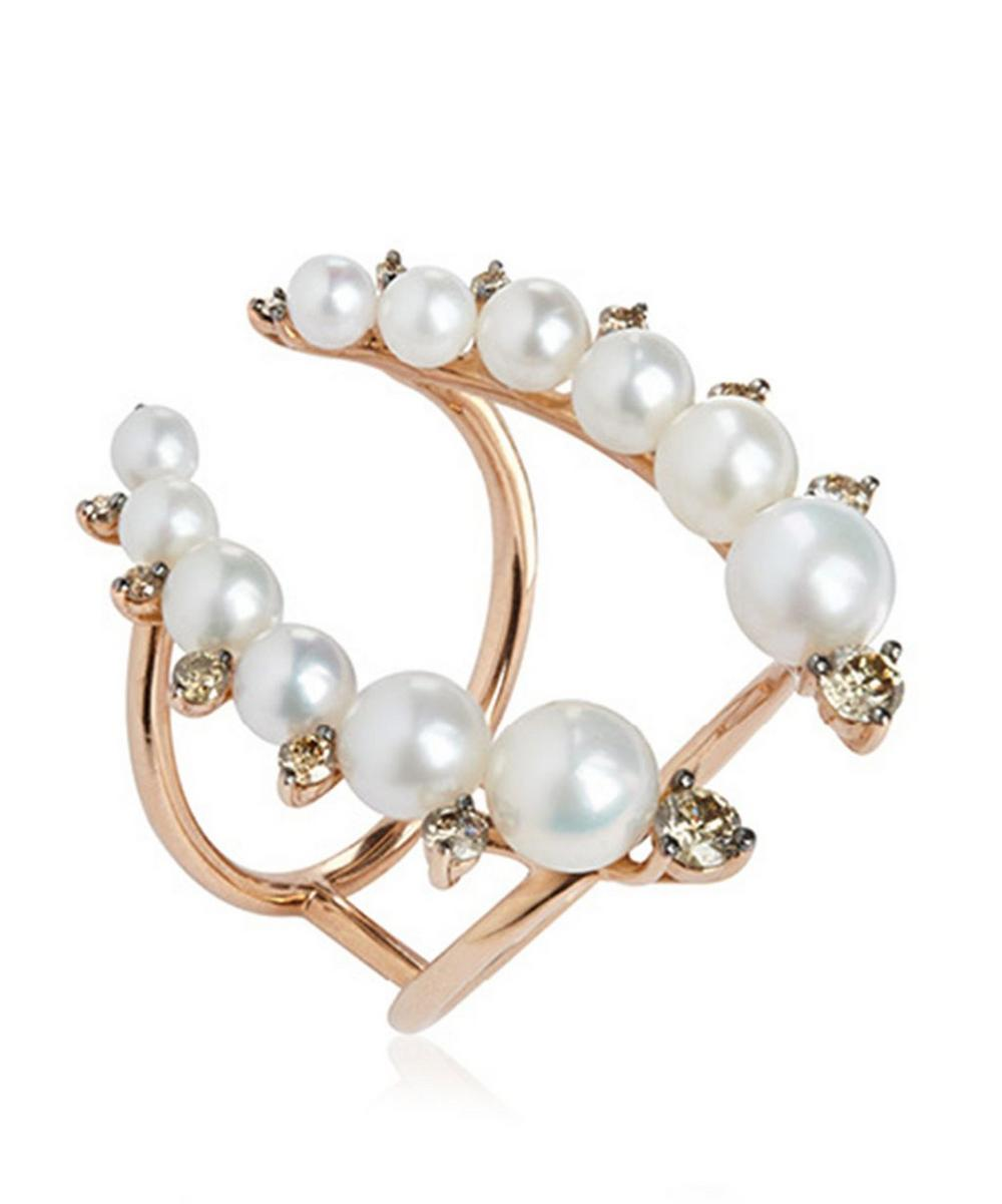 Rose Gold Diamond and Pearl Ring