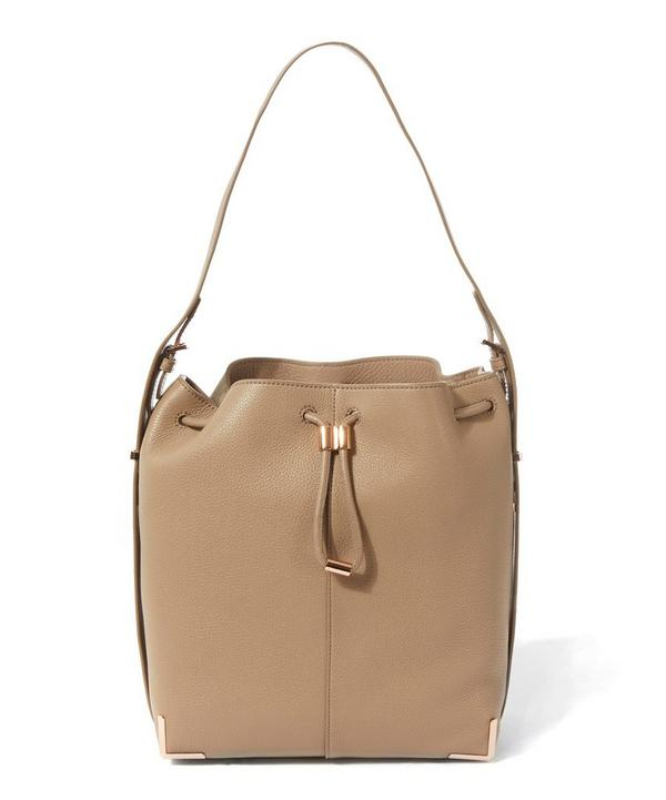 Soft Pebbled Leather Prisma Drawstring Bucket Bag