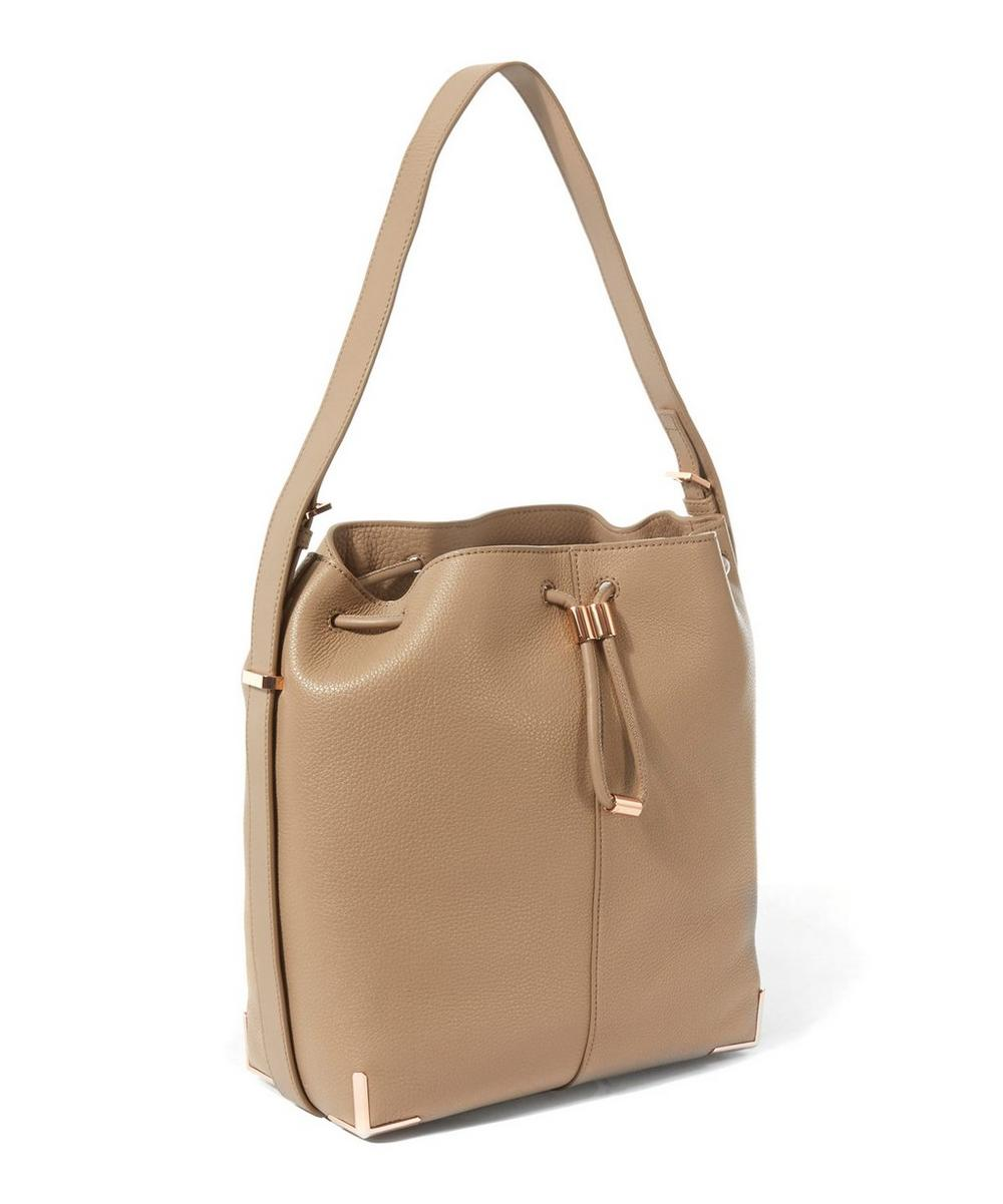 Soft Pebbled Leather Prisma Drawstring Bucket Bag
