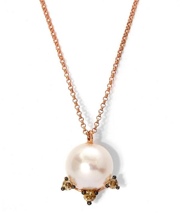 Rose Gold Diamond and Pearl Pendant Necklace