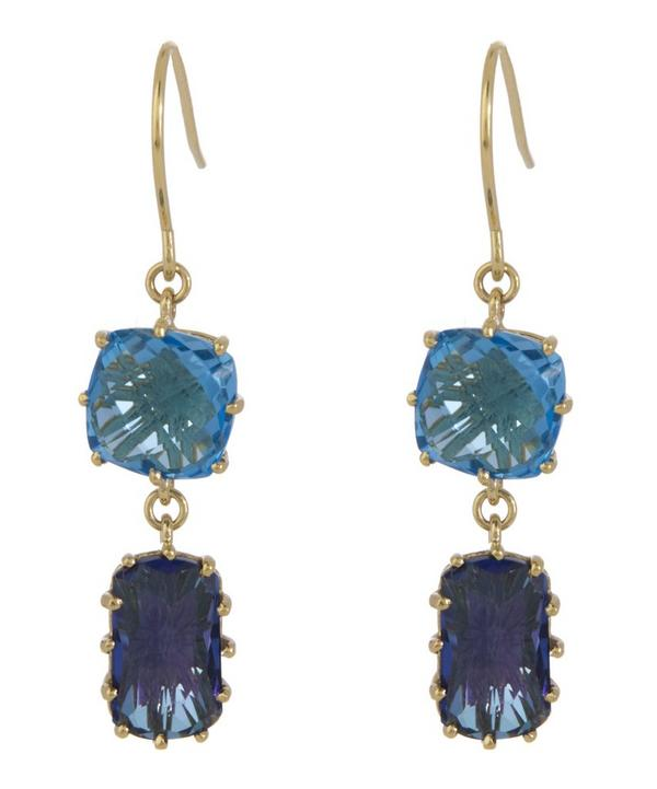 Gold Blue Topaz Drop Earrings