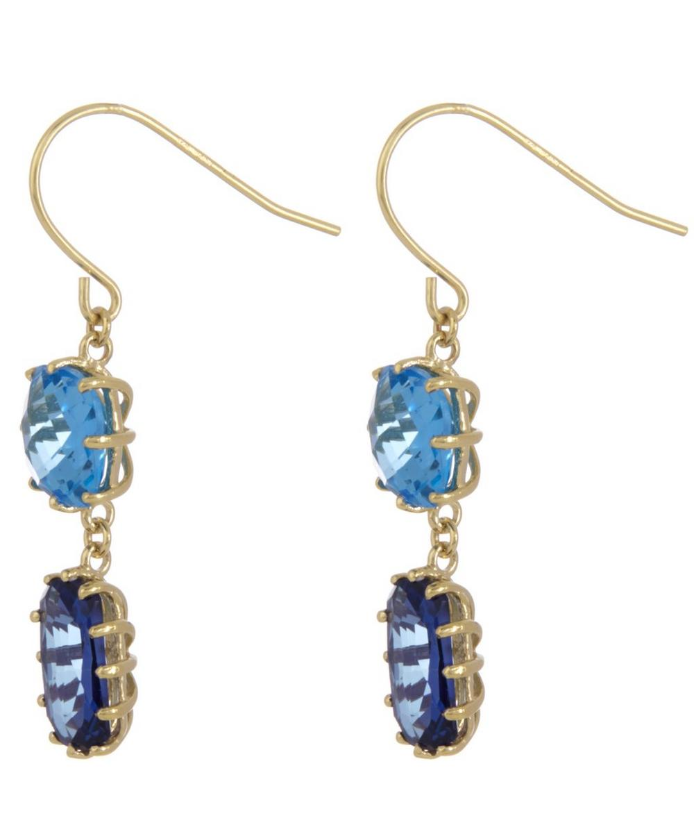 Gold Blue Topaz Drop Earrings