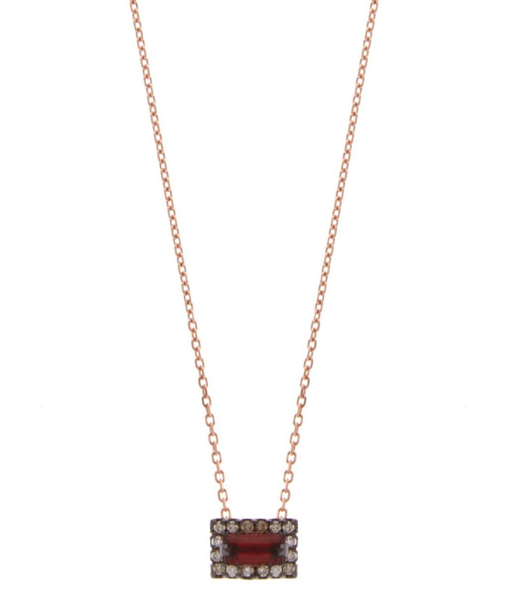 Rose Gold Garnet Baguette Necklace