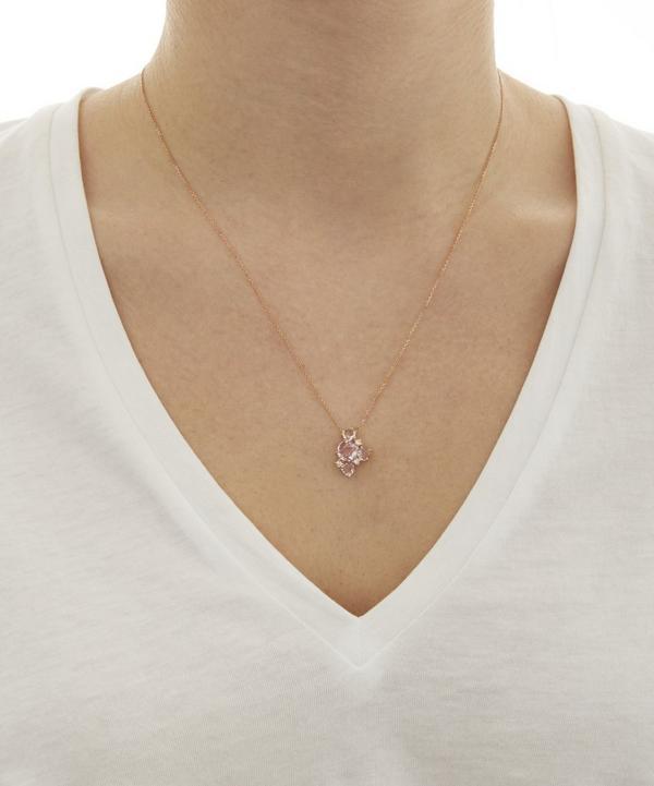 Rose Gold Rose De France Stone Necklace
