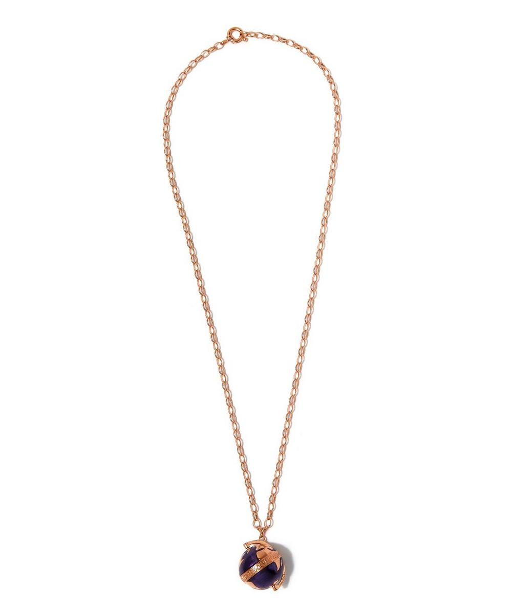 Large Rose Gold-Plated Purple Enamel Globe Necklace