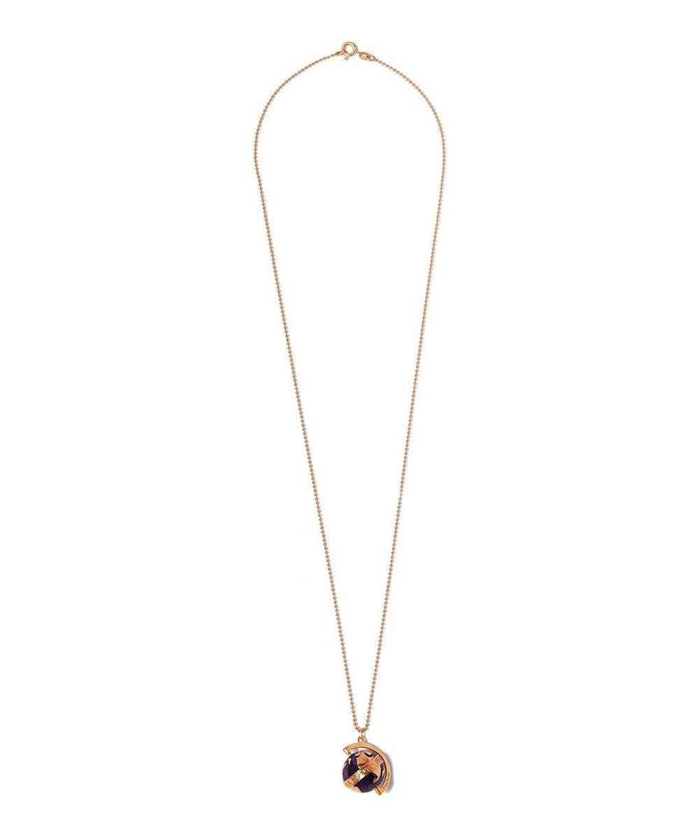 Medium Rose Gold-Plated Spinning Globe Necklace