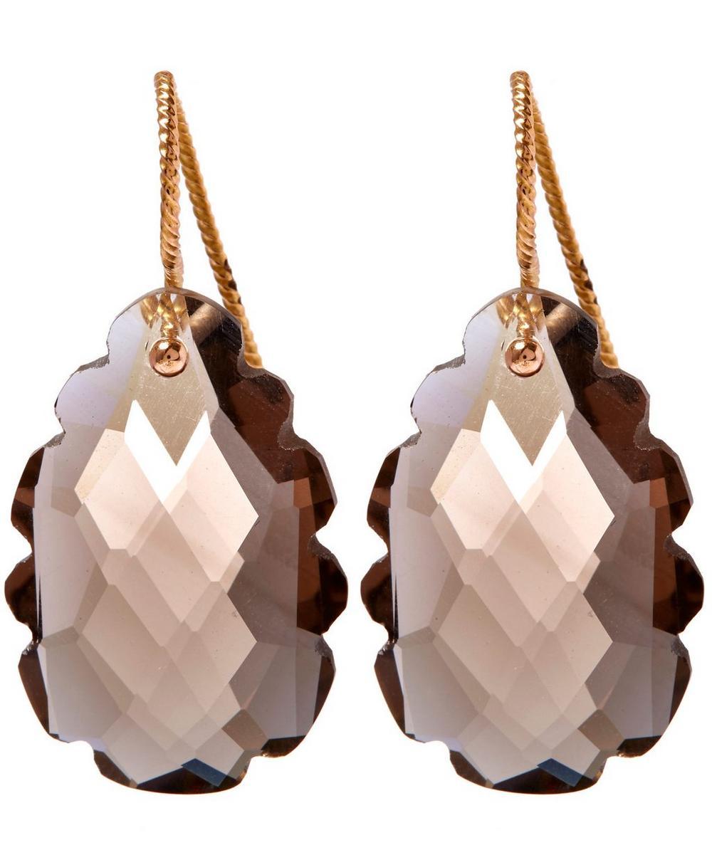 Rose Gold Light Brown Smoky Quartz Drop Earrings
