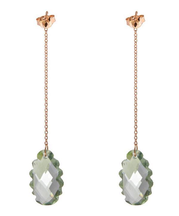 Rose Gold Light Green Scalloped Prasiolite Long Drop Earrings