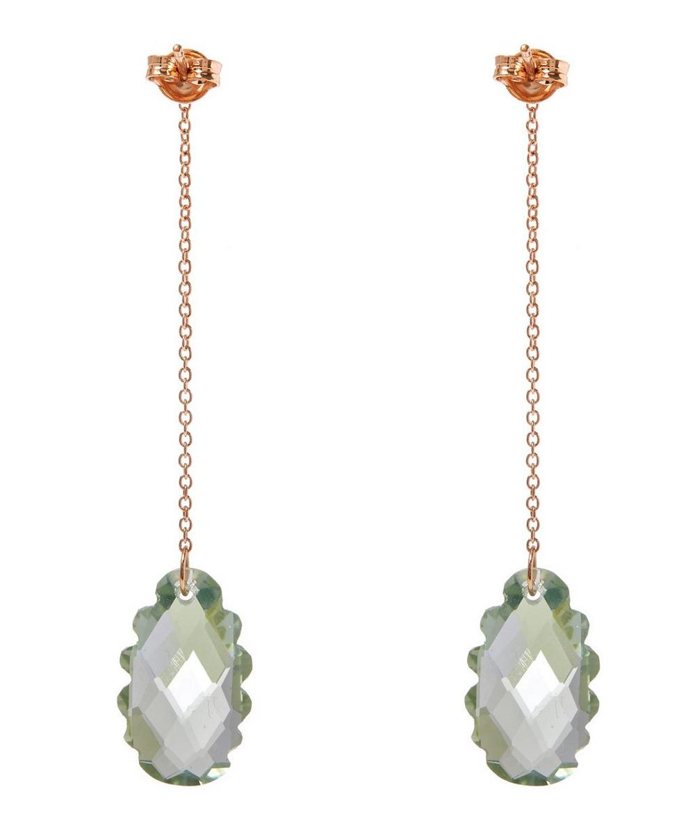 Rose Gold Light Green Scalloped Prasiolite Long Drop Earrings