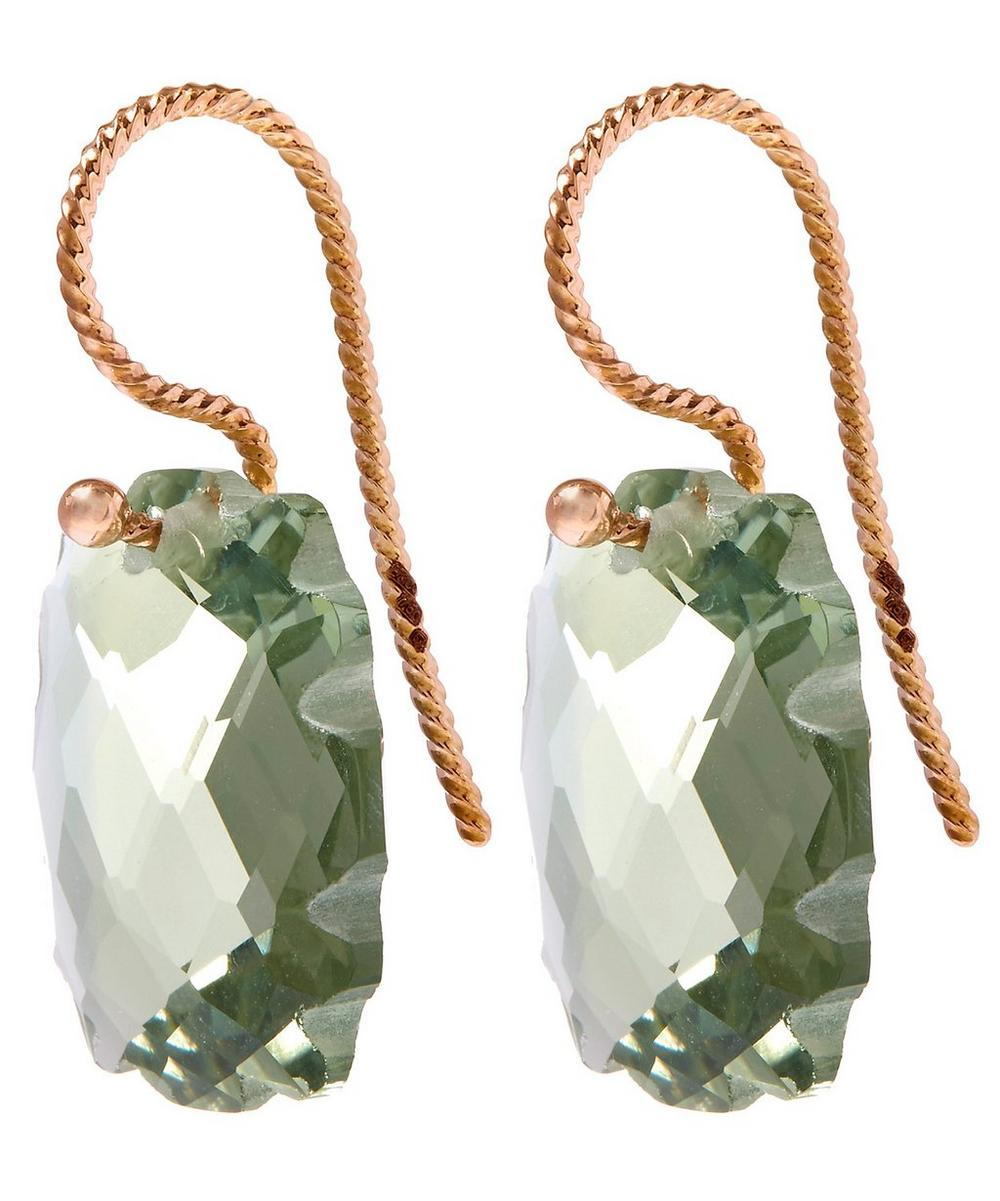 Rose Gold Light Green Scalloped Prasiolite Rectangular Earrings