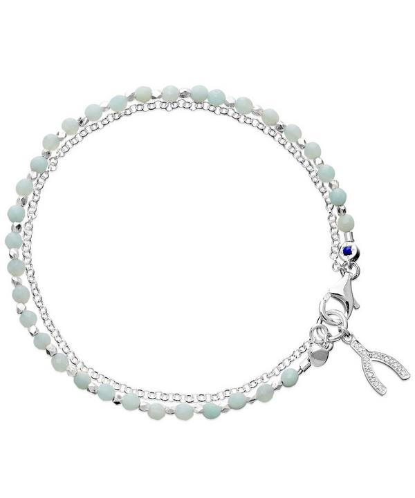 Amazonite Wishbone Biography Diamond Bracelet