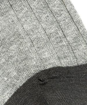 Hamada Contrast Cotton and Linen-Blend Socks