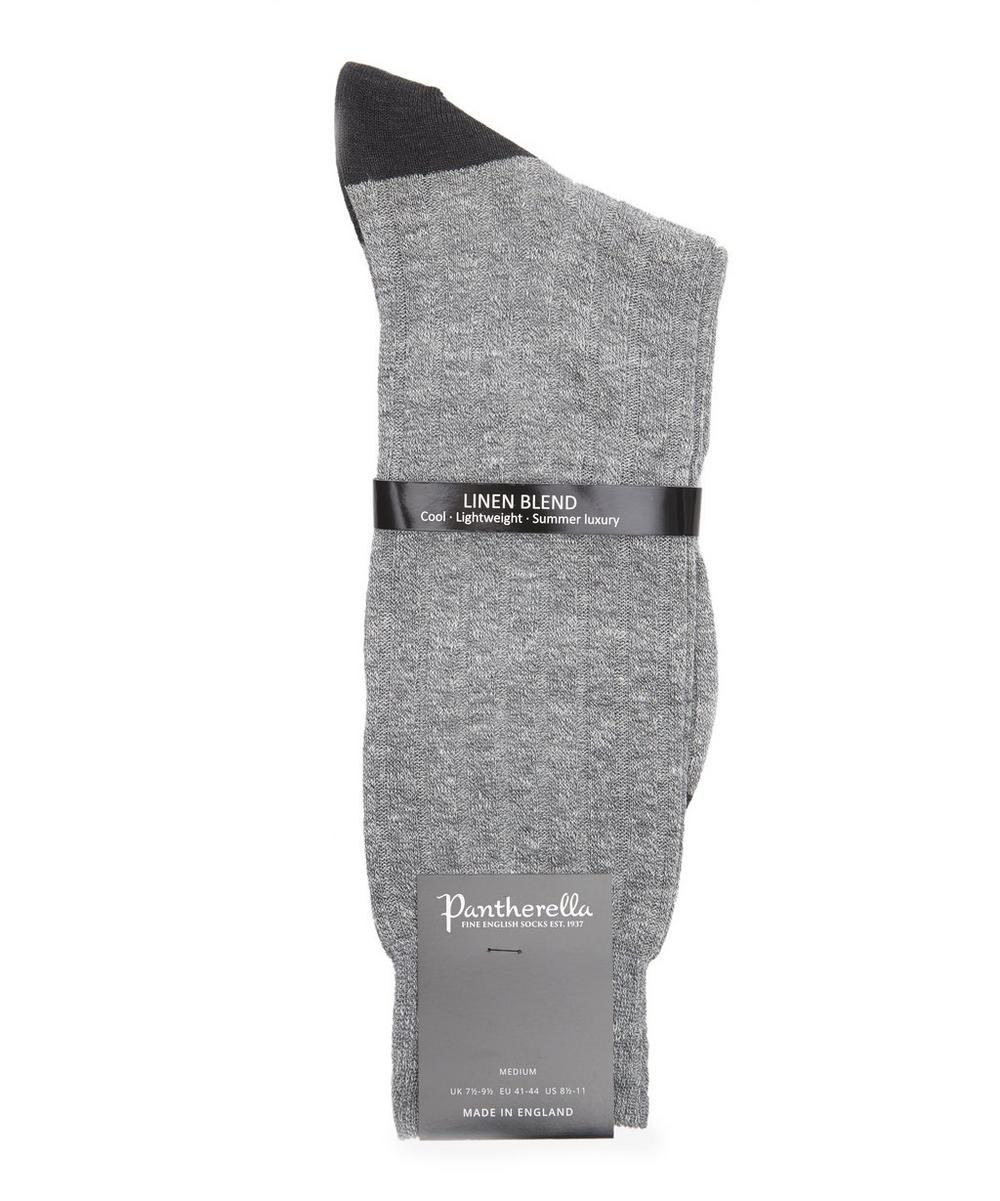 Hamada Contrast Cotton and Linen-Blend Socks