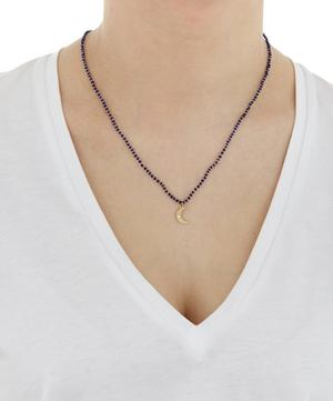 Lapis Bead Crescent Moon Necklace