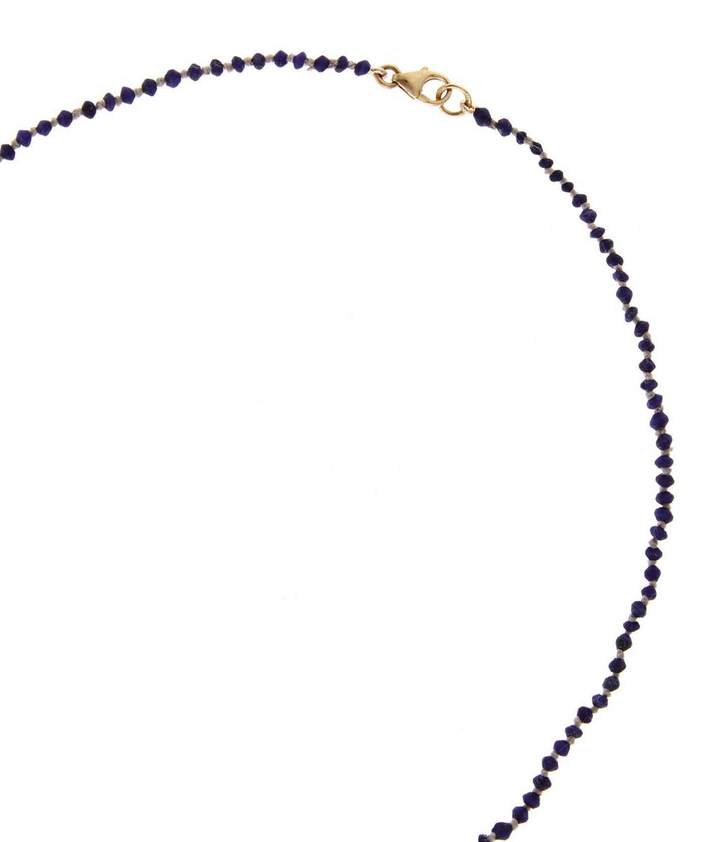 Lapis Bead Crescent Moon Necklace