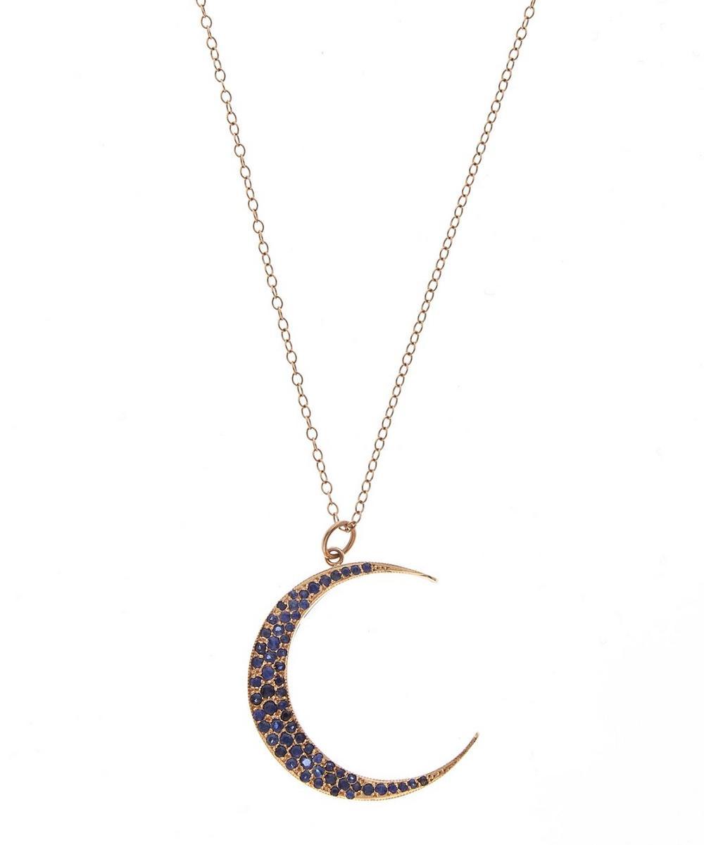 Large Luna Necklace Blue Sapphires 18k Rose Gold