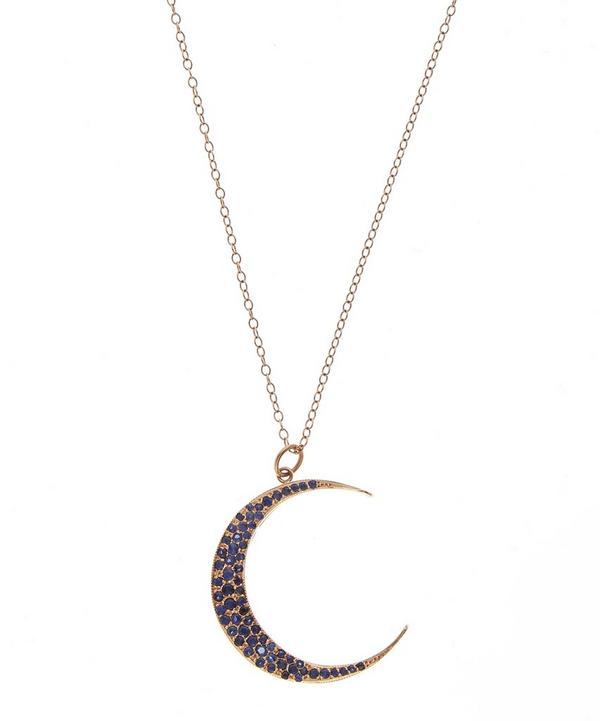 Sor Large Luna Necklace Blue Sapphires 18k Rose Gold