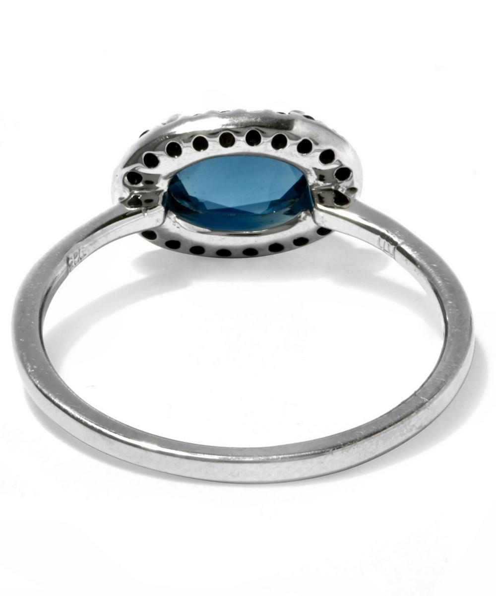 London Blue Topaz and Black Diamond Pavé Amulet Ring