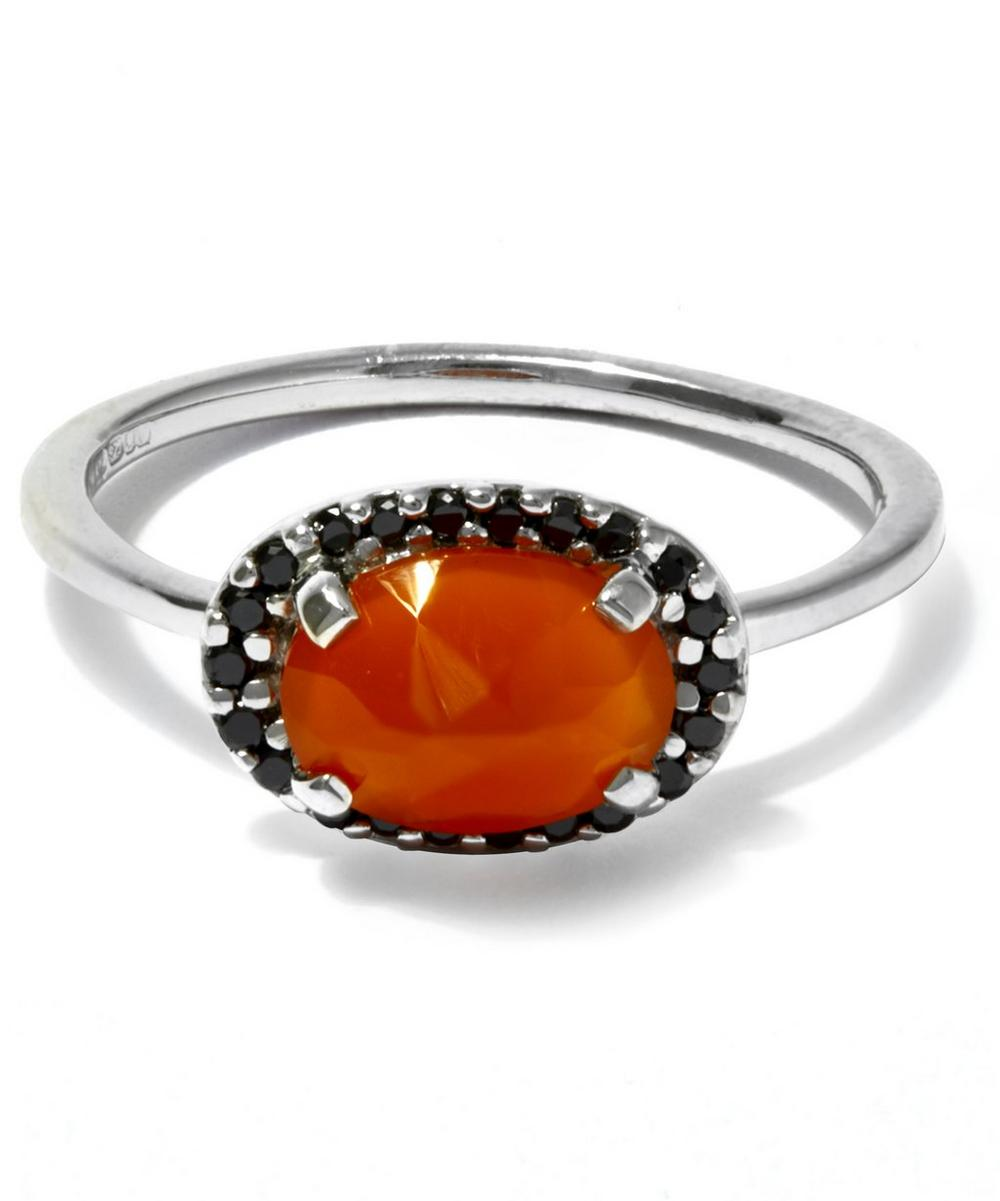 Carnelian and Black Diamond Pavé Amulet Ring