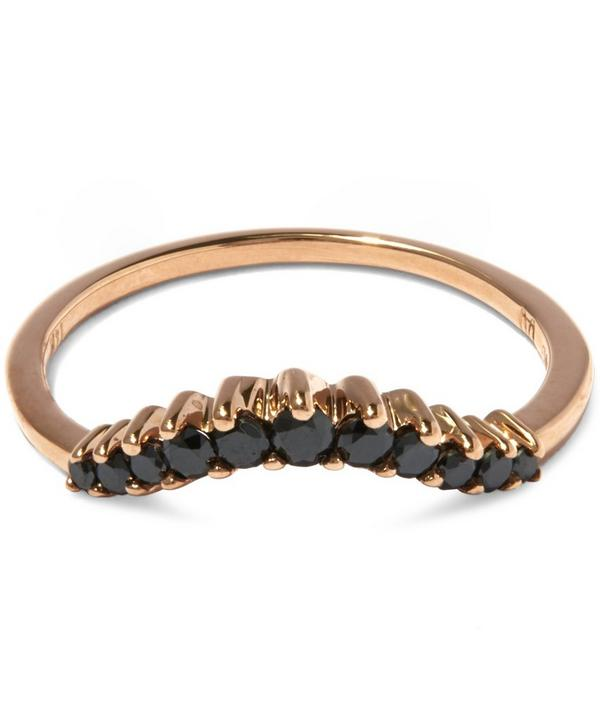 Black Diamond and Rose Gold Tiara Curve Ring