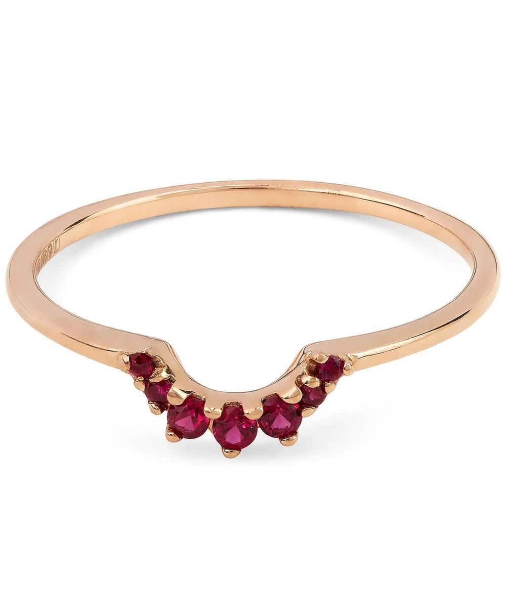 Ruby and Rose Gold Tiara Band Ring