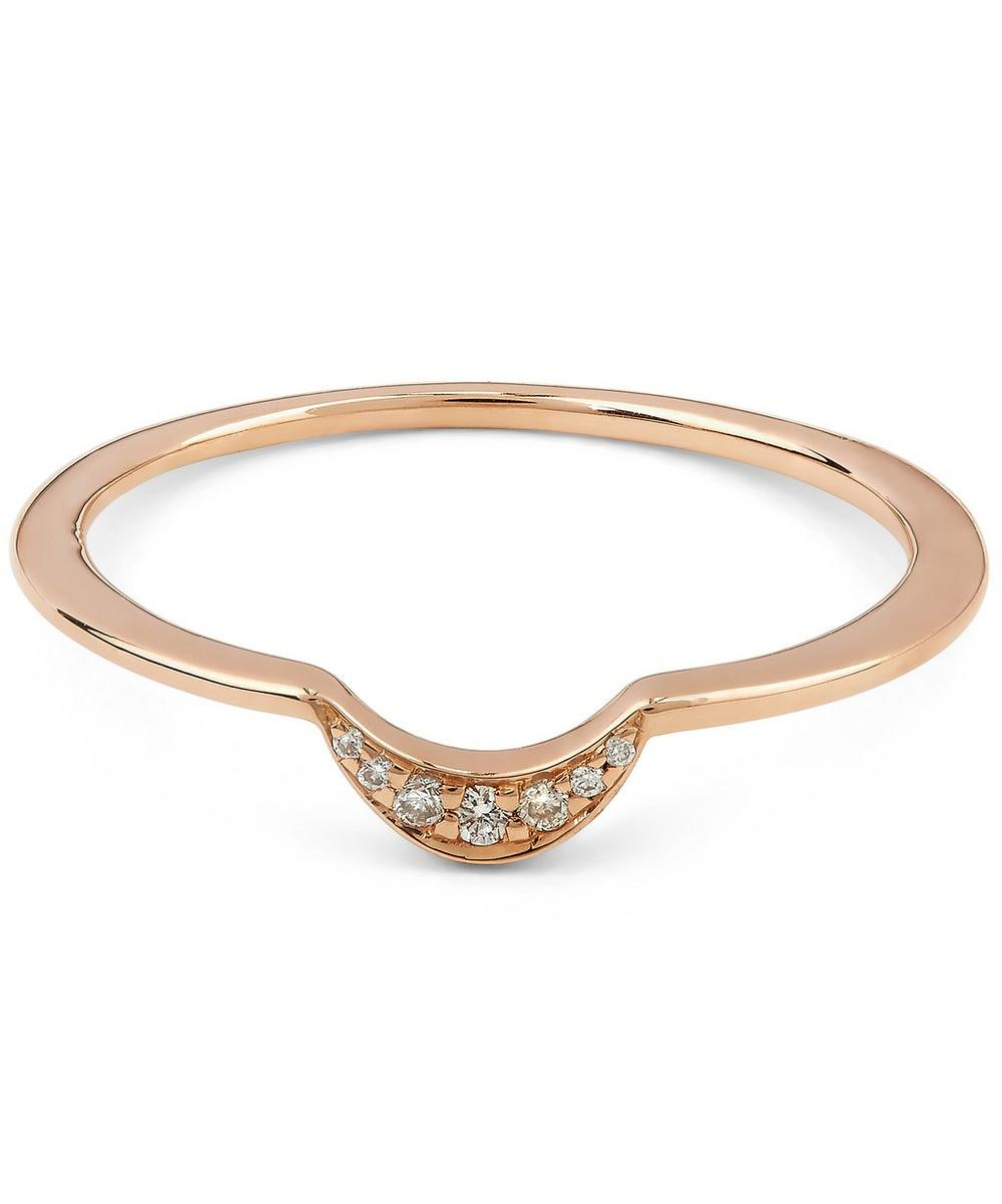 White Diamond and Rose Gold Tiny New Moon Ring