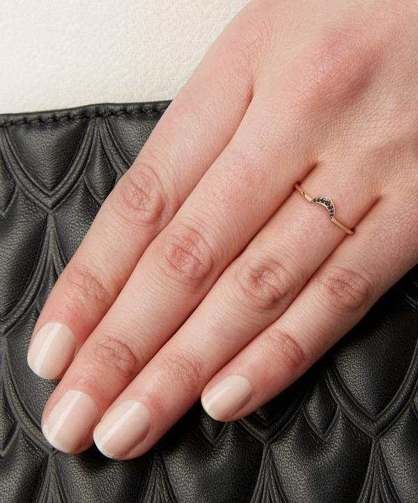 Black Diamond and Rose Gold Tiny New Moon Ring