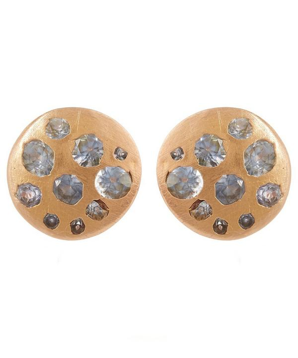 Rose Gold Blue Sapphire Crystal Disc Studs