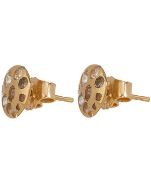 Medium Gold White Sapphire Disc Studs