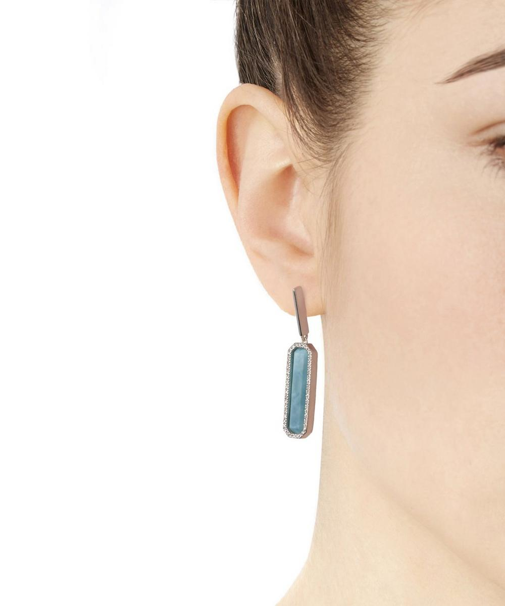 Silver Naida Rectangle Drop Earrings