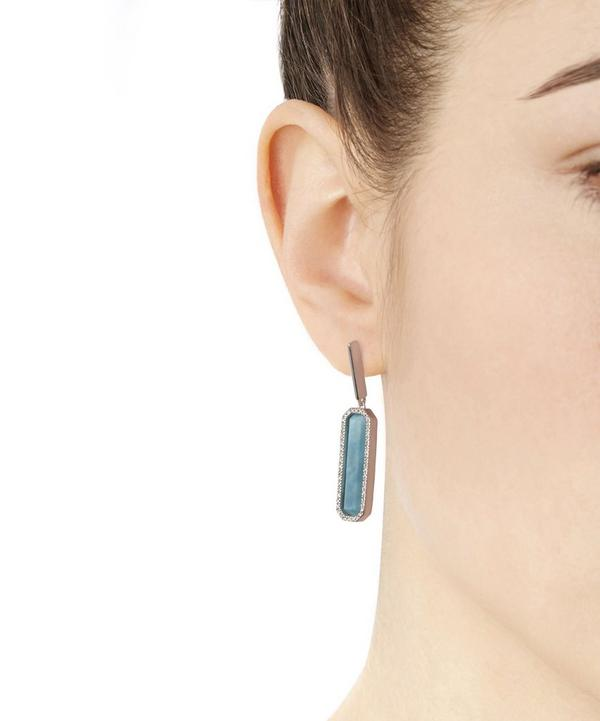 Silver Naida Rectangle Drop Earrings