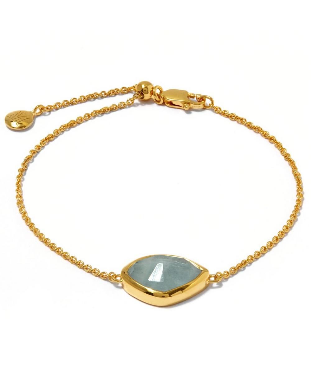Gold-Plated Aquamarine Siren Teardrop Bracelet