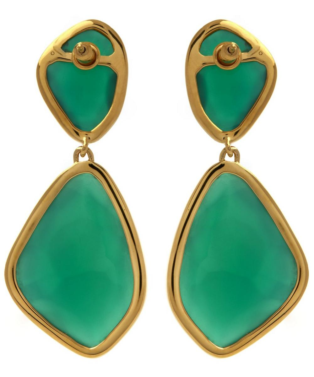 Gold-Plated Green Onyx Siren Cocktail Earrings