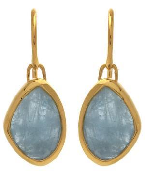 Gold-Plated Aquamarine Siren Teardrop Earrings