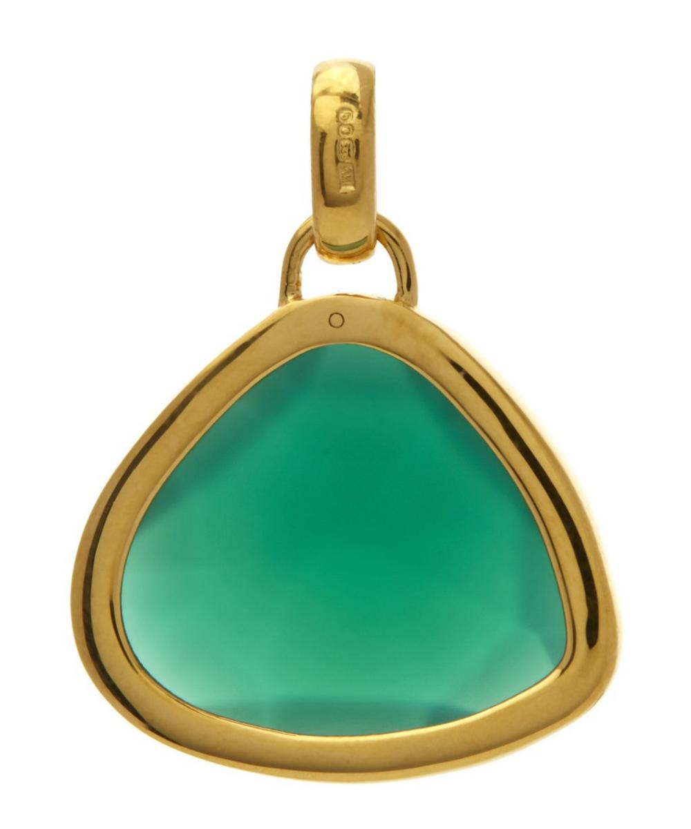 Gold-Plated Green Onyx Siren Pendant