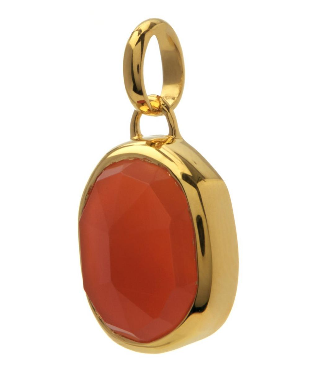 Gold-Plated Orange Carnelian Medium Bezel Siren Pendant
