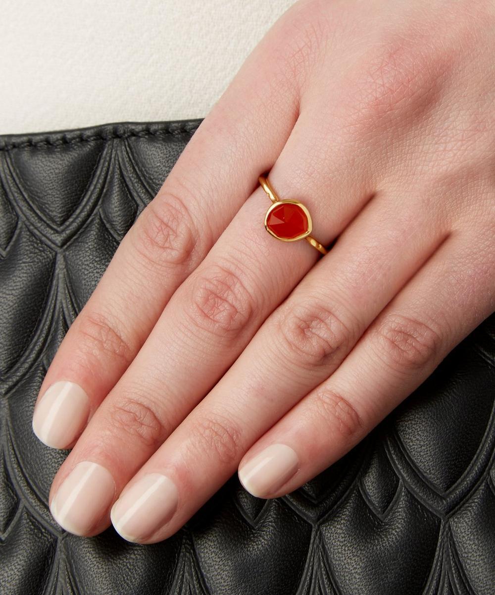 Gold-Plated Orange Carnelian Siren Stacking Ring