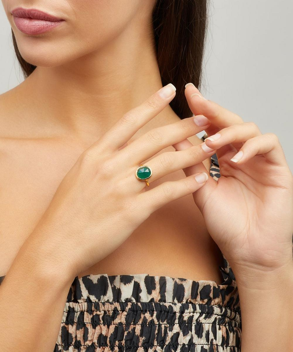 Gold-Plated Green Onyx Medium Siren Stacking Ring