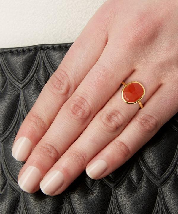 Gold-Plated Orange Carnelian Medium Siren Stacking Ring