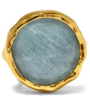 Gold-Plated Aquamarine Round Siren Cocktail Ring