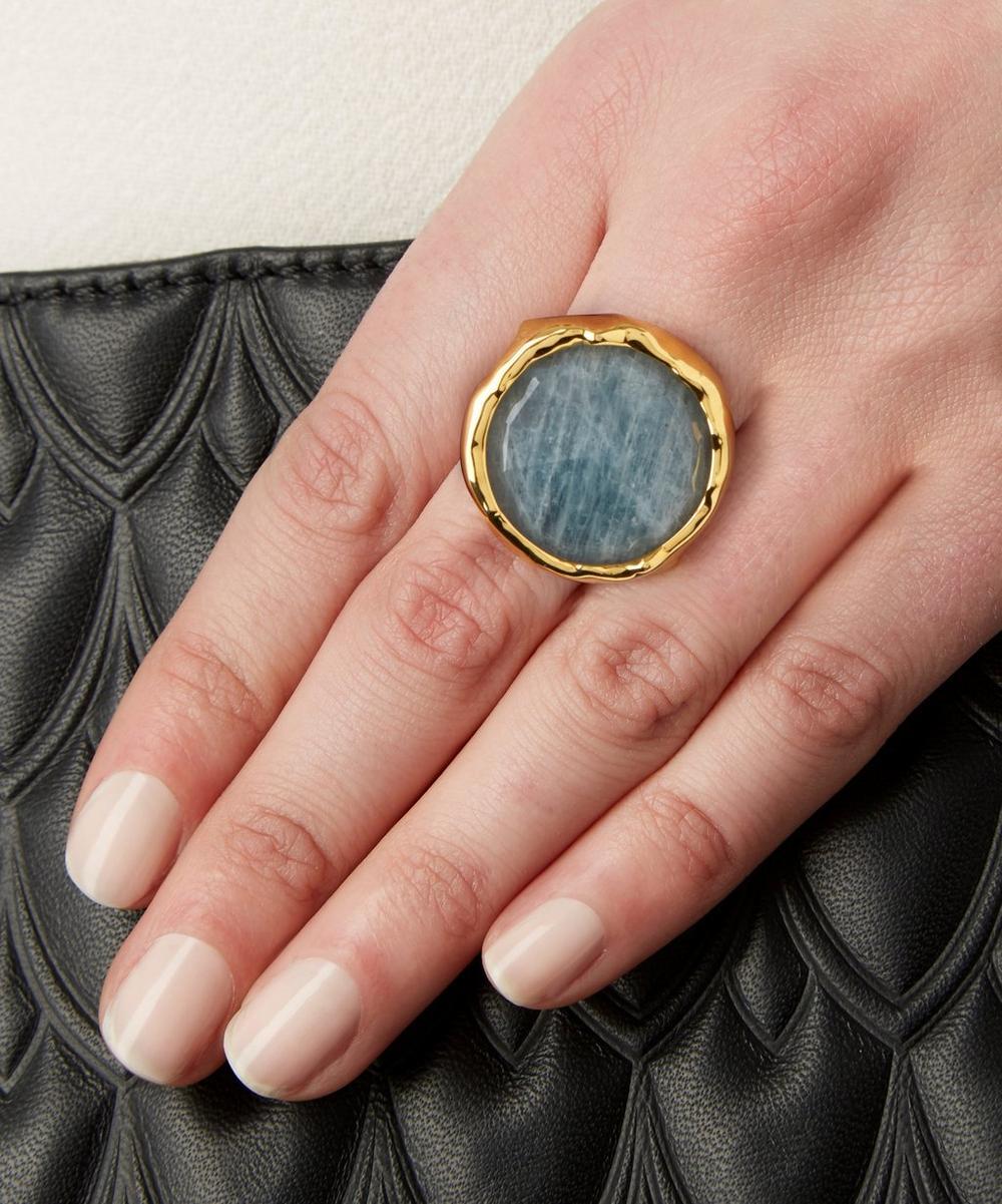 Gold-Plated Aquamarine Round Siren Cocktail Ring