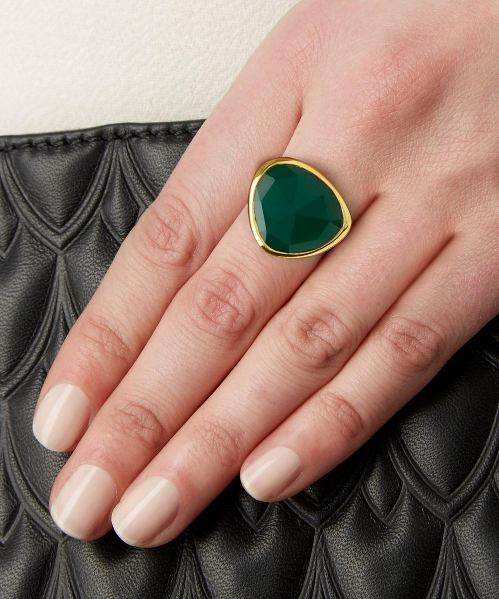 Gold-Plated Green Onyx Siren Ring