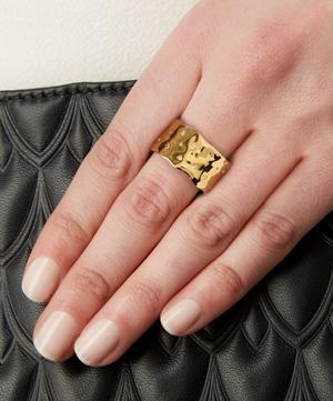 Gold-Plated White Topaz Siren Scatter Wide Band Ring