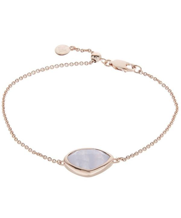 Rose Gold-Plated Blue Lace Agate Siren Teardrop Bracelet