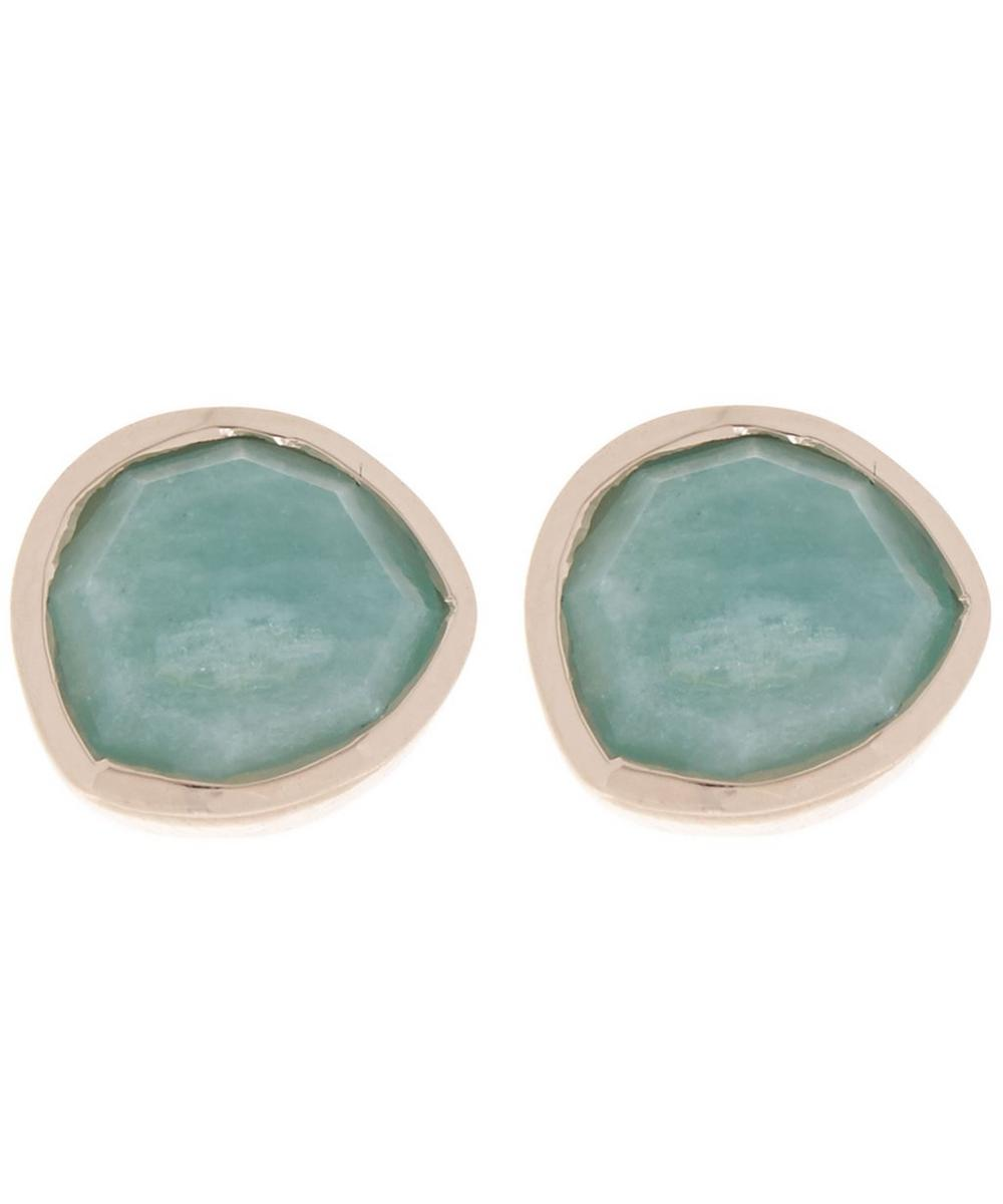 Rose Gold-Plated Amazonite Siren Stud Earrings