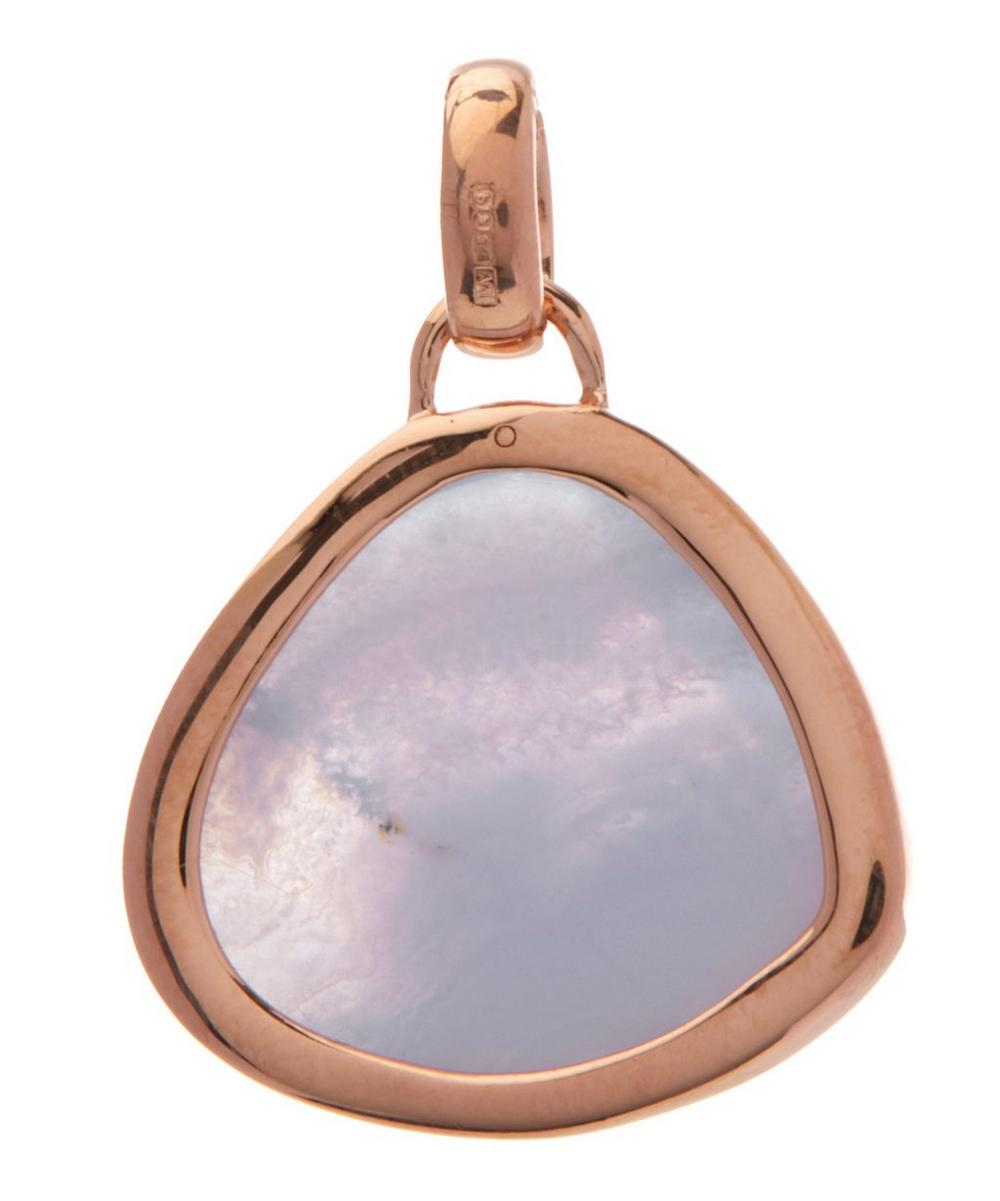 Rose Gold-Plated Blue Lace Agate Bezel Siren Pendant