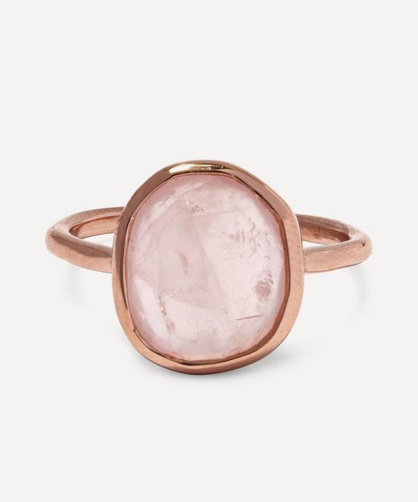 Rose Gold-Plated Rose Quartz Medium Siren Stacking Ring