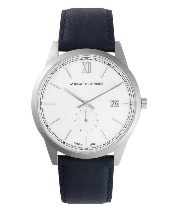 Saxon 39mm Silver-White Leather Watch