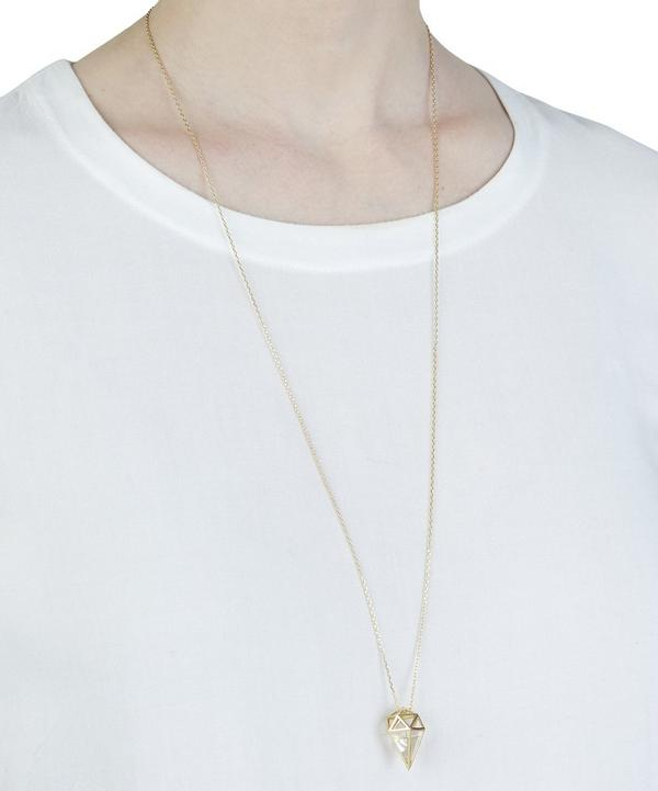 Gold Krystallos White Quartz Deia Pendant Necklace