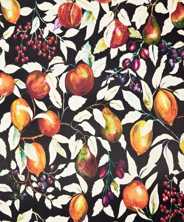 Fruit Billett Wallpaper in Banquet Black